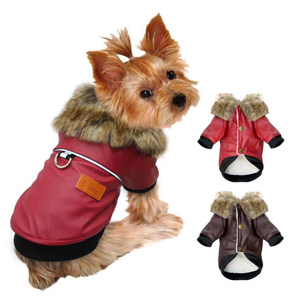 Waterproof Dog Coats Chihuahua Clothes Pu Leather Warm Jacket Windproof Pet Vest Waterproof Dog Coats Dog Winter Coat Dog Jackets Winter
