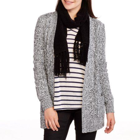 Faded Glory Women's 2 Pocket Cardigan Sweater, Size: Small, Black ...