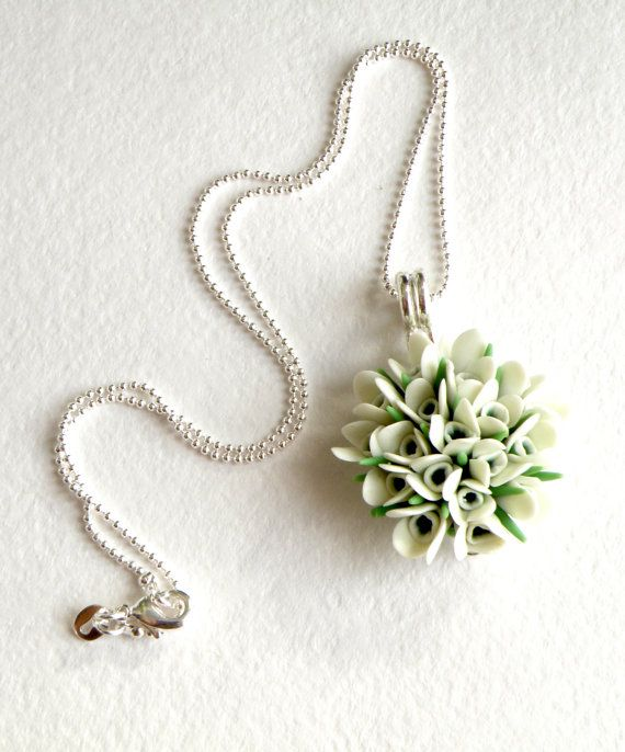Snowdrops Pendant White Wedding Flower Necklace Snowdrop Necklace On Sterling Silver Ball Chain Spring Spring Gift Ideas White Wedding Flowers Spring Gifts
