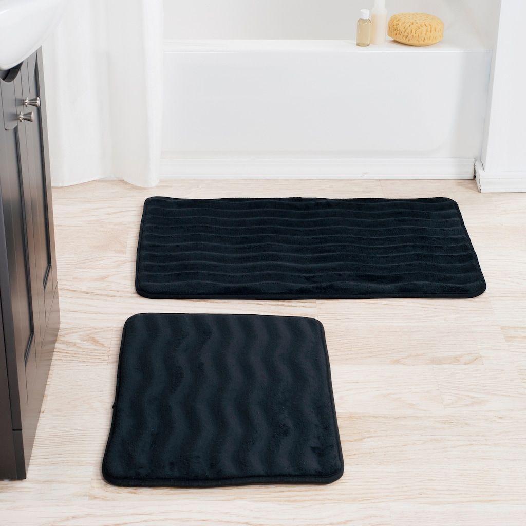 Portsmouth Home 2 Piece Memory Foam Bath Mat Set Black Bath Mat
