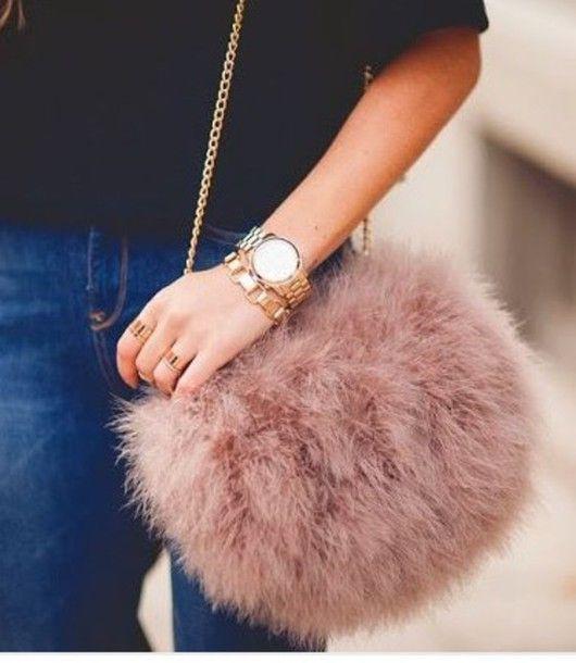 5c0554a71a5f Bag  blush fluffy furry purse faux fur dusty pink chain furry pouch ...