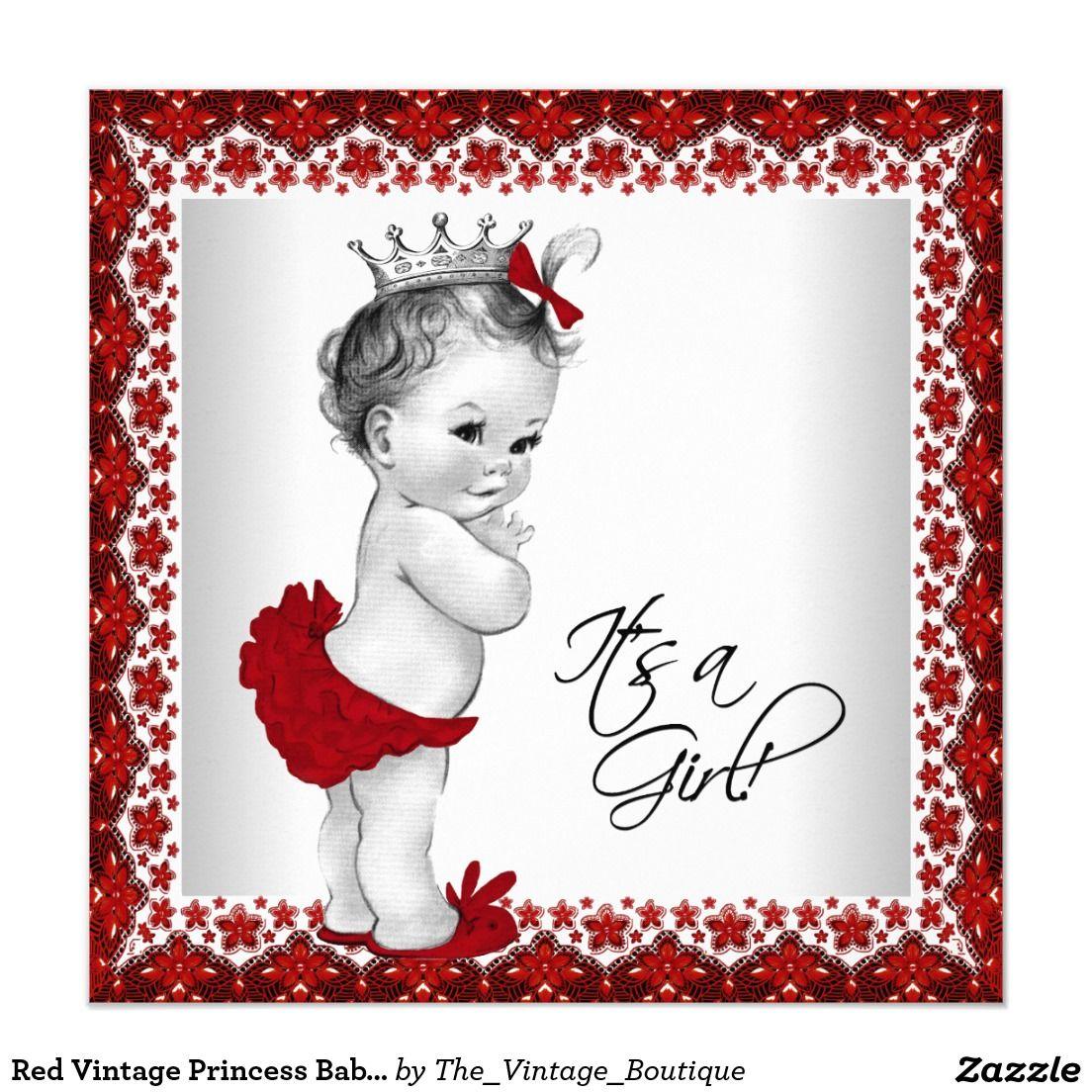 Red Vintage Princess Baby Shower Card | Vintage princess, Princess ...