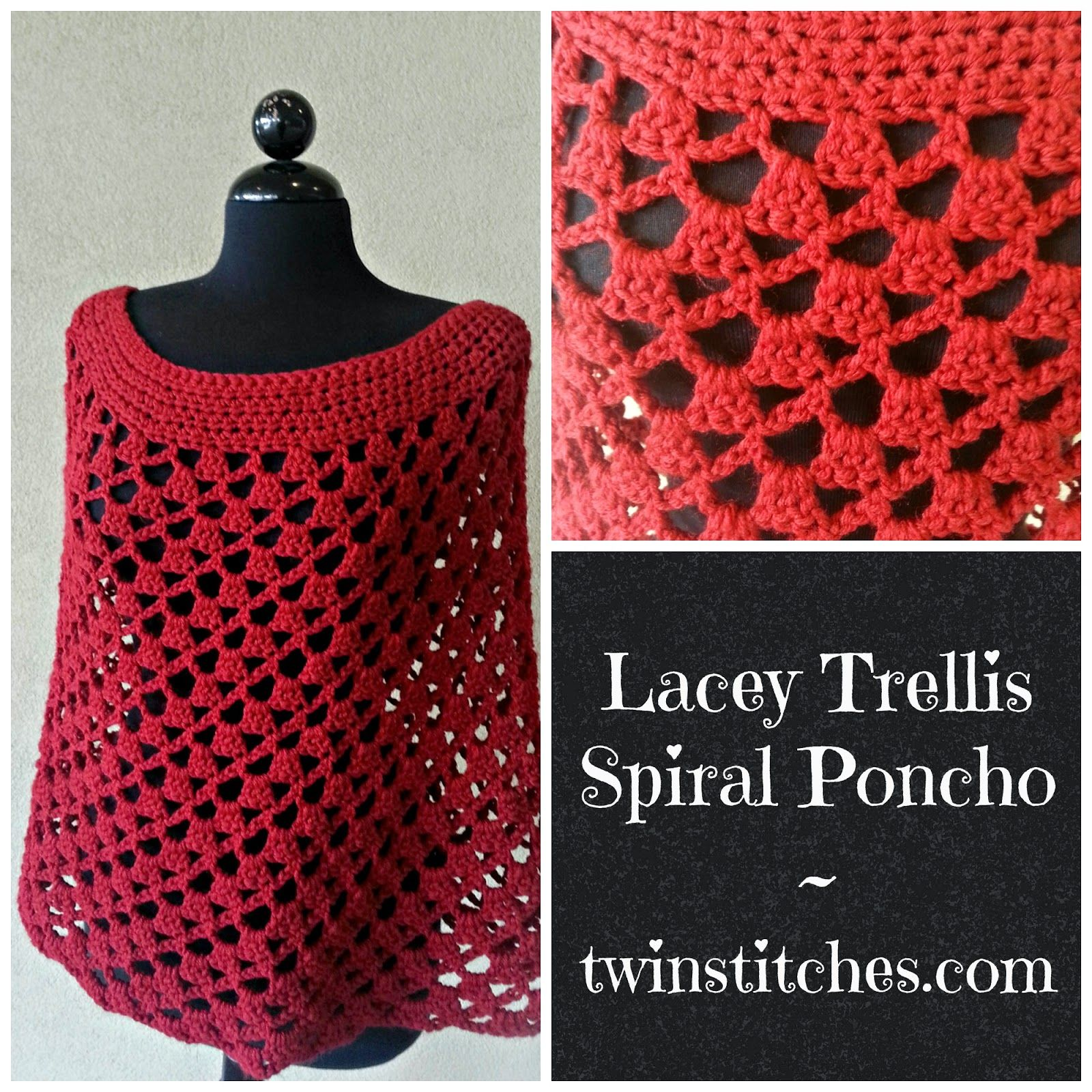 Lovely isnt it crochet diy tw in stitches lacey trellis tw in stitches lacey trellis poncho spiral version free crochet pattern in sizes l xl adjustable by jennifer uribe bankloansurffo Images