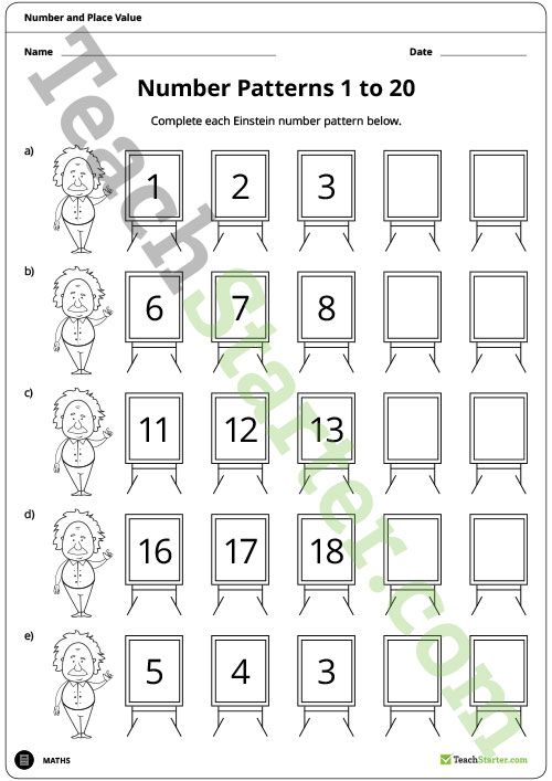 Einstein Number Pattern Worksheets 60 To 60 Teaching Resource Cool Place Value And Patterns