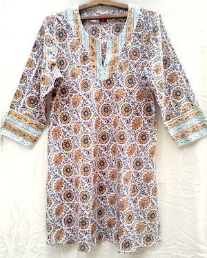 c9bed7ac3a3 Anokhi Ochre Kalamkari style Floral Hand block print Bias cut Indian cotton  Tunic top