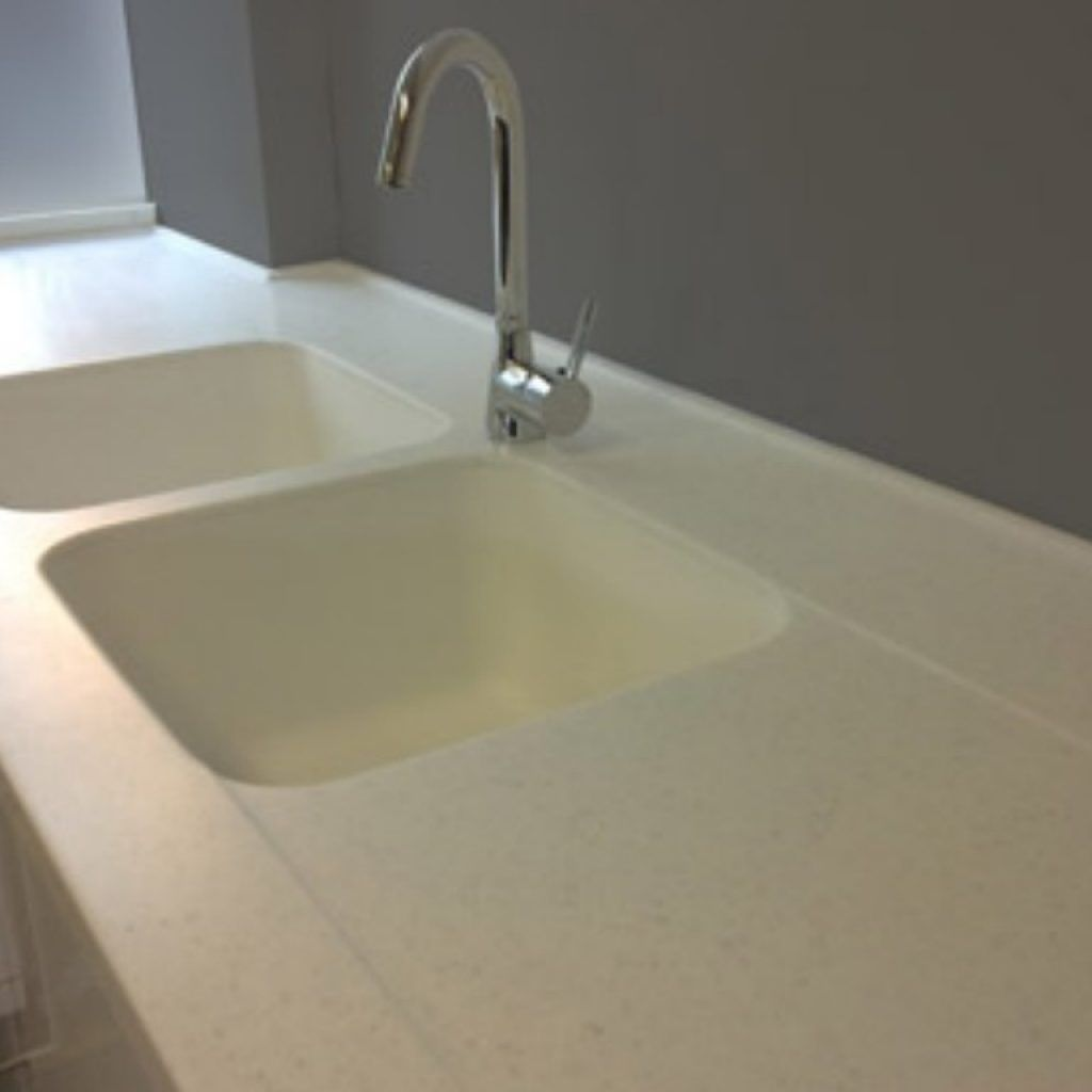 Corian Double Bowl Kitchen Sink With Drainboard With Images