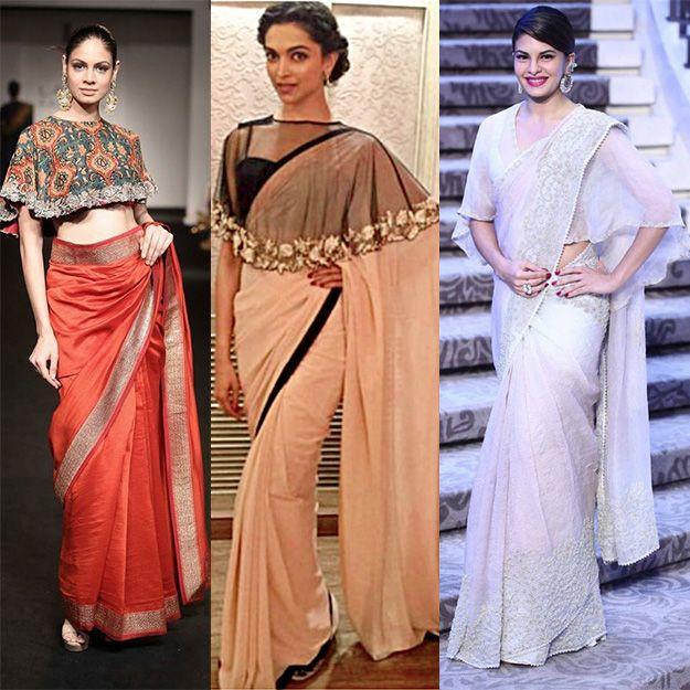 17fe378922ca78 cape blouse design Indian Blouse