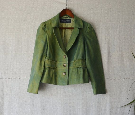 Summer jacket green coat grunge clothing dark mori boho clothing festival clothing hand dyed womens tops eco clothes unique clothes small