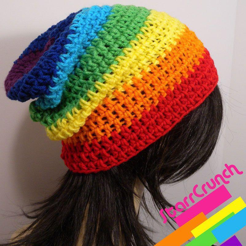 Slouchy Beanie Crochet Hat in Chakra Rainbow Stripes | Handschuhe ...