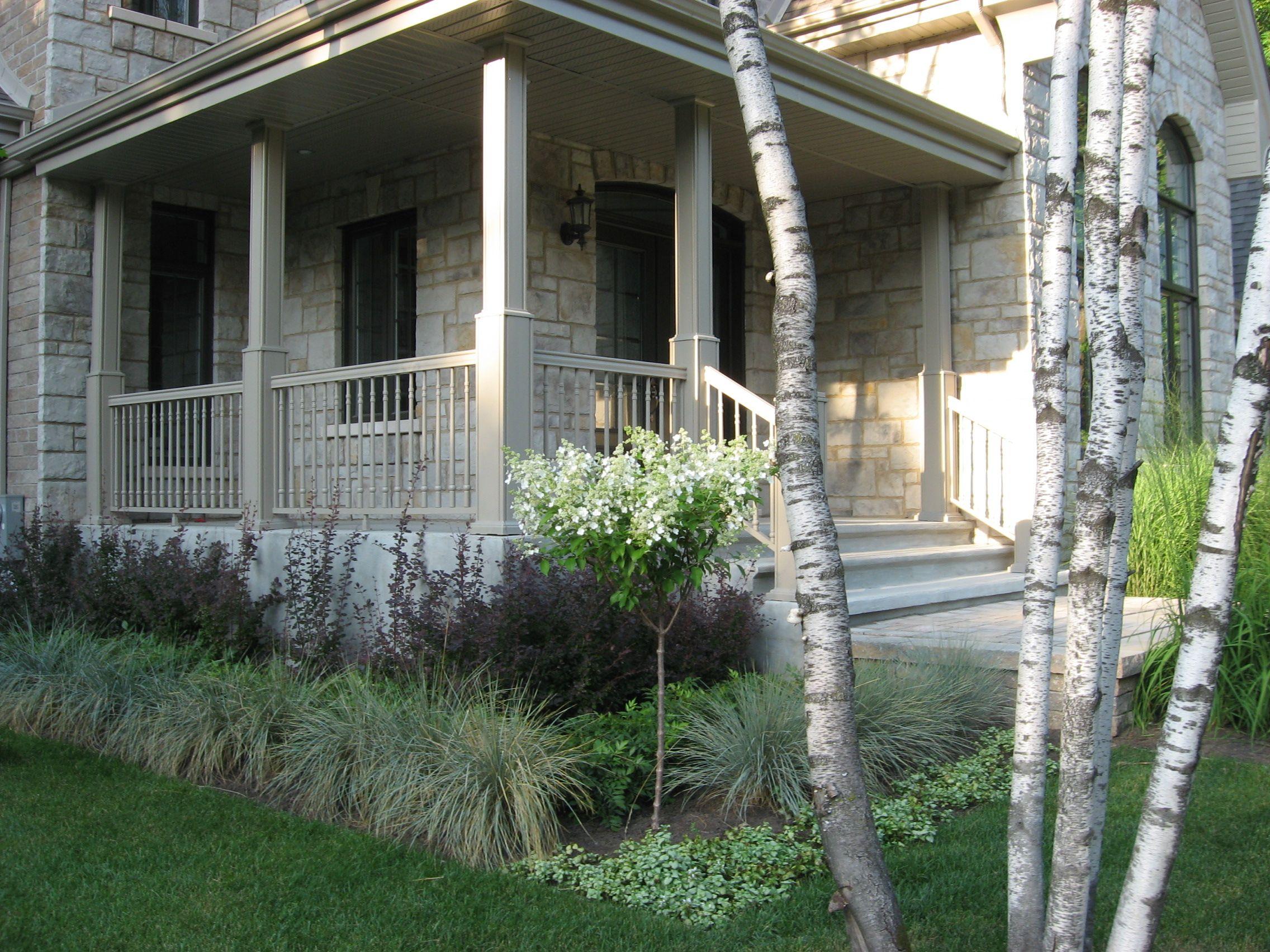 am nagement d 39 une fa ade de maison espace de plantation arbustes et gramin es arbre escalier. Black Bedroom Furniture Sets. Home Design Ideas
