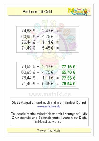 Rechnen mit Geld (ZE,ZE€+E,ZE€) - ©2011-2016, www.mathiki.de - Ihre ...