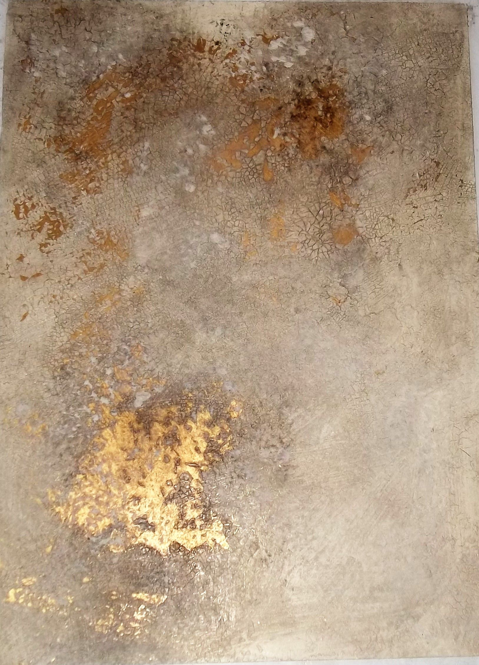 Plaster Finish Crackle Exposes Gold Finish Below More