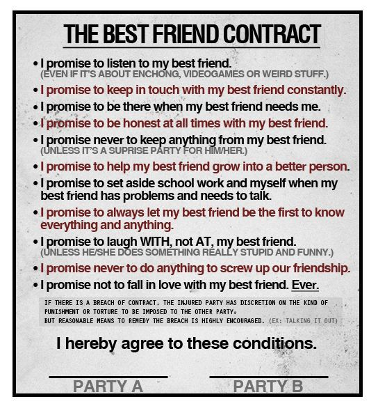 Printable Friendship Contracts | Printable Friendship ...