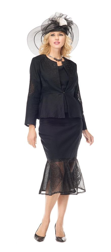 Night Studio Linen Style 6964. Stunning 3 piece skirt suit in linen fabric. Jacket is 24 inches long. Skirt is 29 inches.  Great church suit or special occasion suit. #churchsuit #skirtsuit #womensfashion #fitritefashions