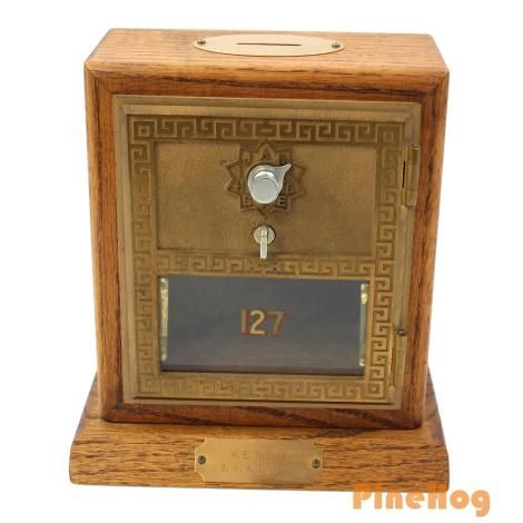 For Sale: Antique Vintage Post Office Door Mail Box Postal Bank 1958 Corbin - Mantle Clock With Vintage Post Office Box Door, Bungalow Clock, Wood