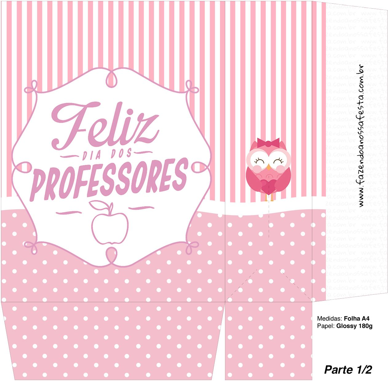 Sacolinha Surpresa Dia dos Professores Corujinha Rosa - Parte 2