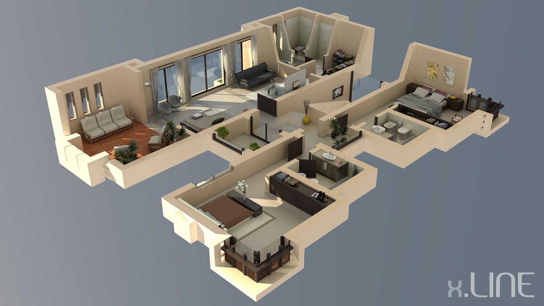 Renderig floor plan 02 x line 3d visualization 3d for 3d floor plan