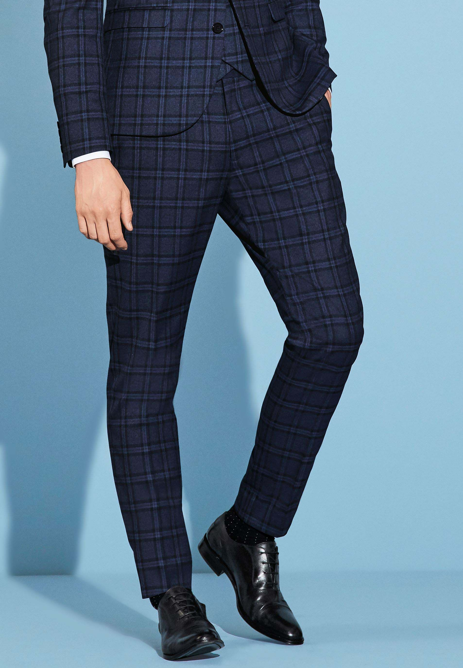 918bbdff71002b Mens Next Skinny Fit Check Suit: Trousers - Blue | Mens suits ...