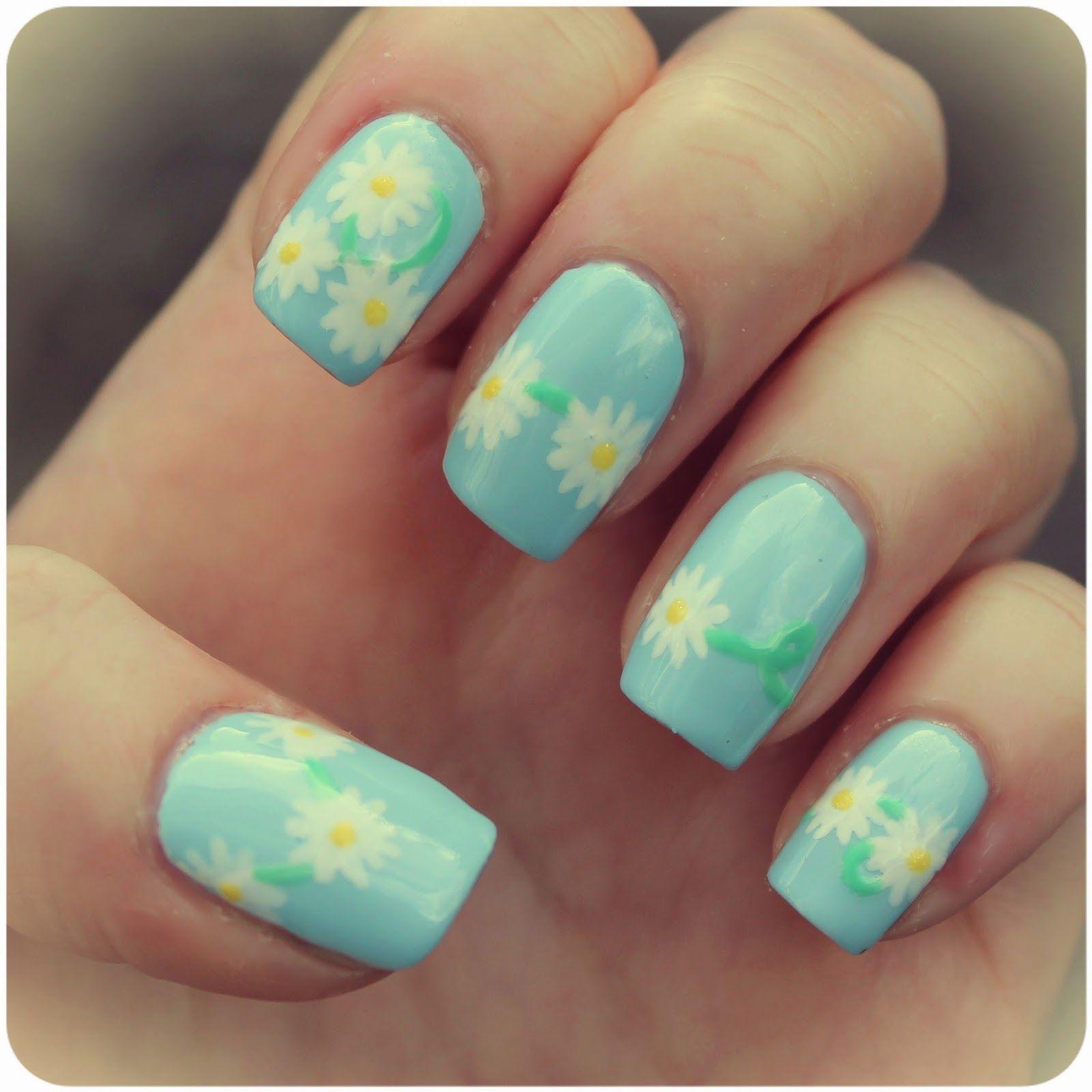 Daisy chain daisy nails nail art summer nails