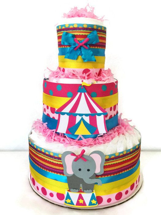Circus Theme Diaper Cake for Girls Circus Baby by AllDiaperCakes