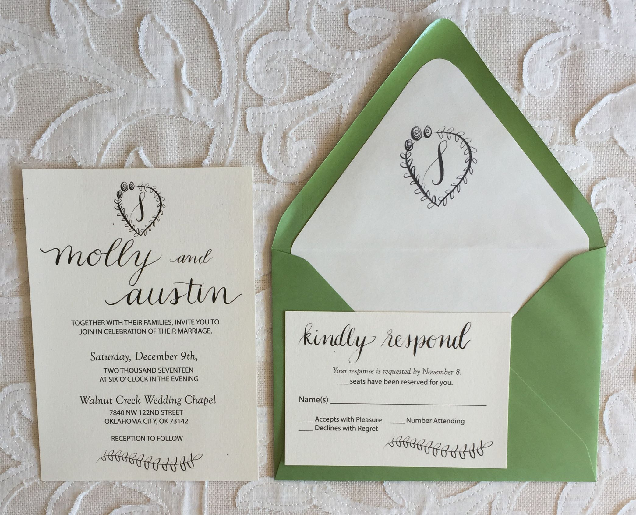 Semi Custom Monogram Wedding Invitation Suite With Rsvp Card Sweet