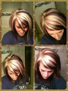Cool Chunky Highlights I Like The Idea Of The Color Coming From A Central Part Of The Head Love Hair Beauty Short Hair Styles Hair Extensions For Short Hair