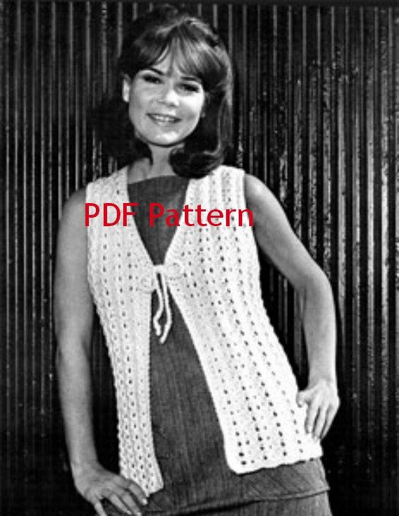 Hippie Knit Vest Pattern Easy Knit Classic Vintage 1969 Digital