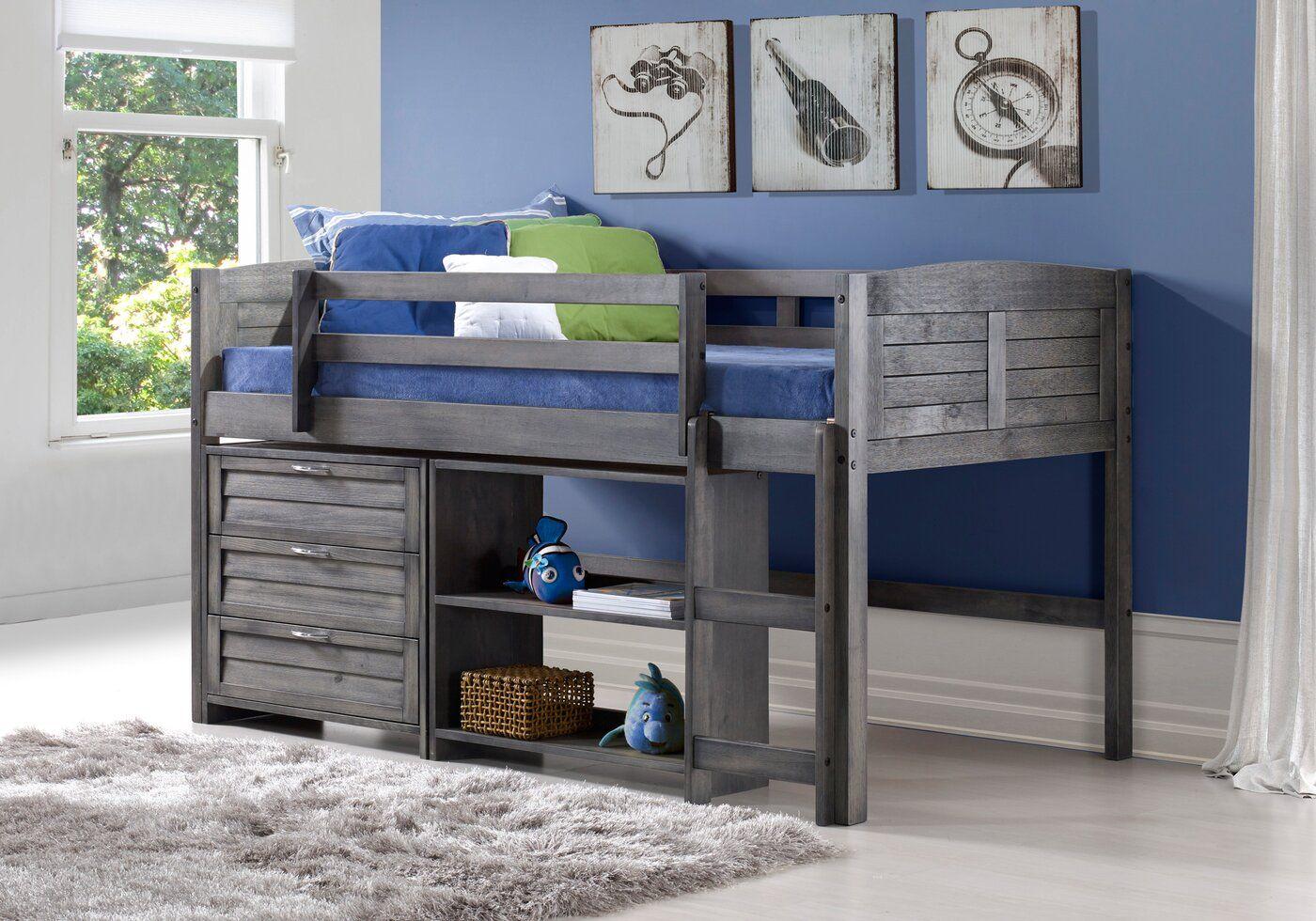 Evan Twin Low Loft Bed with Storage в 2020 г. Детские