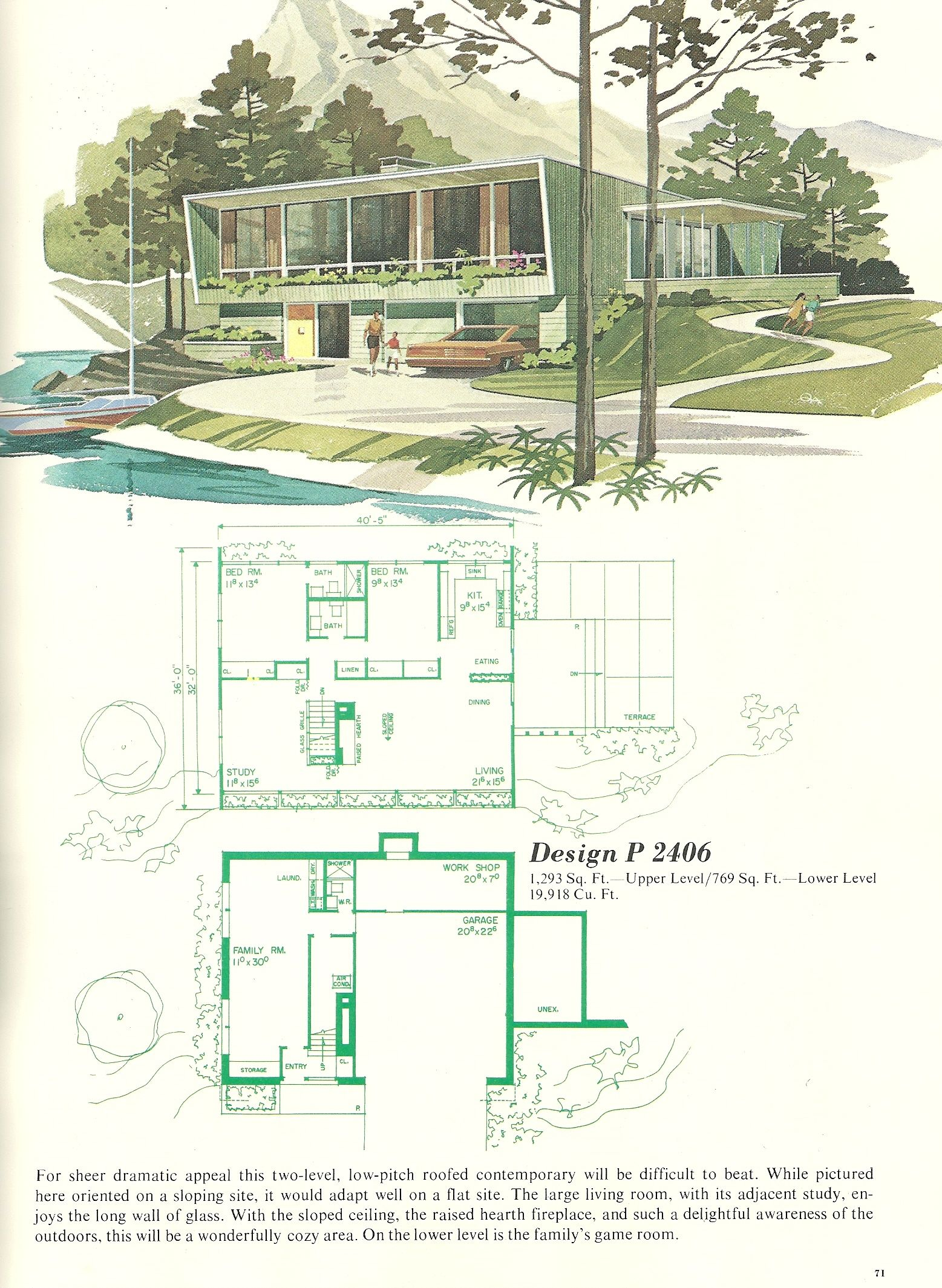 Vintage Vacation Homes 2406 Vintage House Plans Modern House Plans Mid Century Modern House