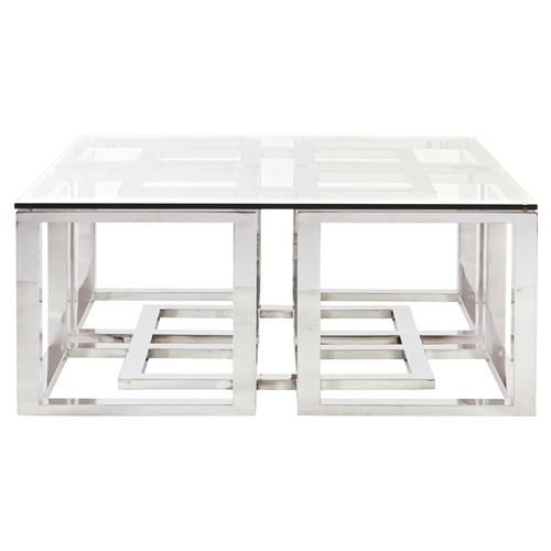 Mercer Stainless Steel Silver Square Glass Coffee Table Eclectic