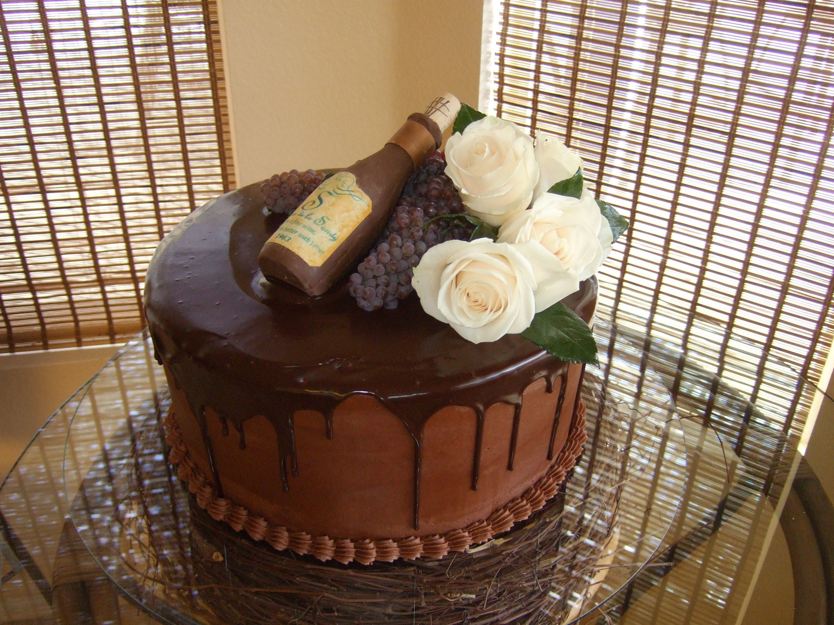 50th Birthday Cake Wine And Chocolate Theme Buttercream