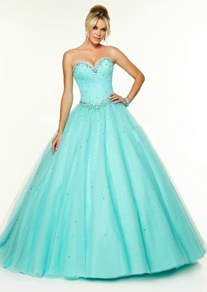 Wishesbridal Elegant Blue Sweetheart Floor Length Tulle Ball Gown ...