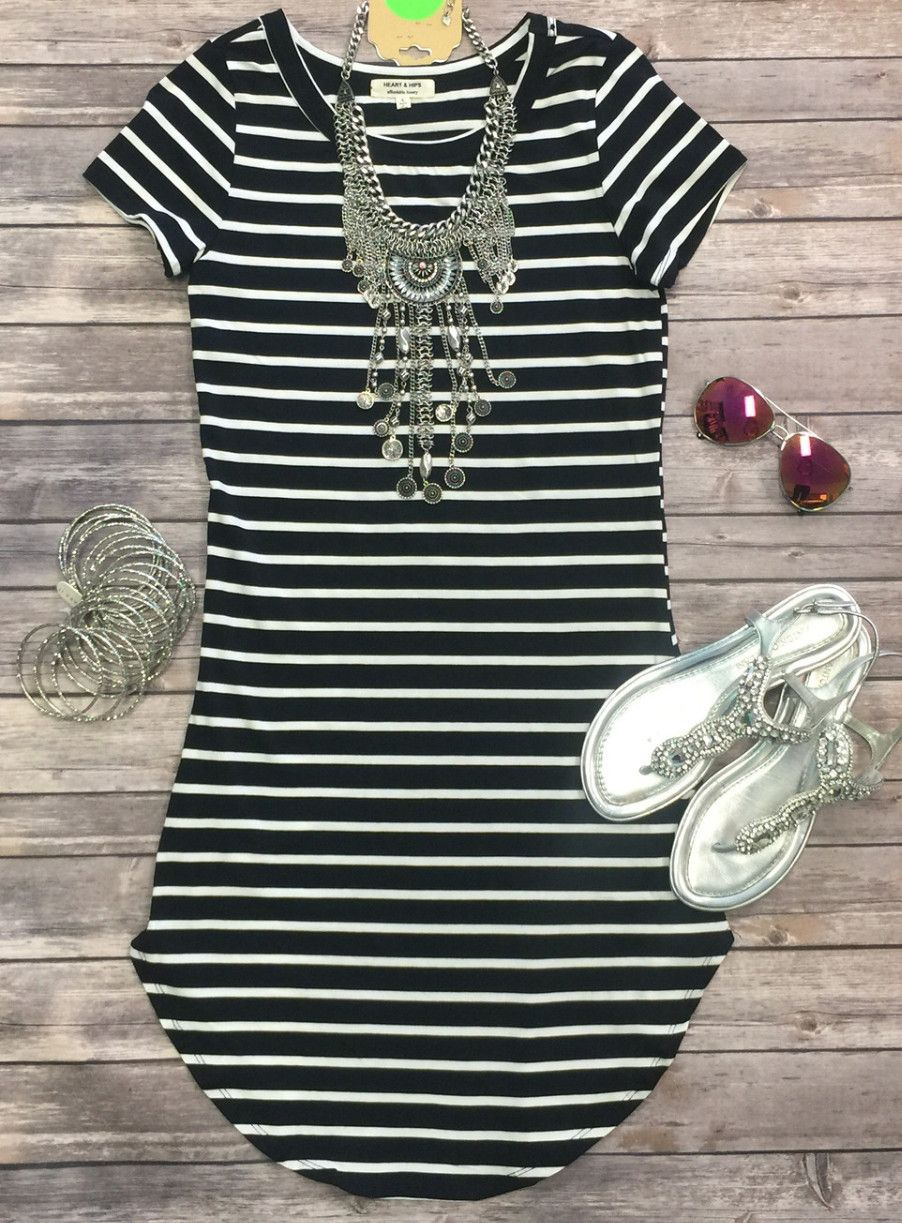 db321aa52 The On the Horizon Tunic Dress in Black is striped