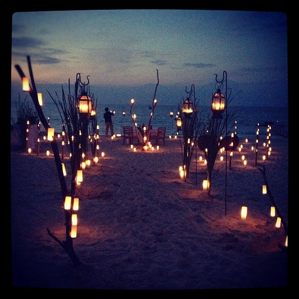 Night Beach Wedding Ceremony Ideas: Romantic Does Not Even Begin....=3 Doing This For The