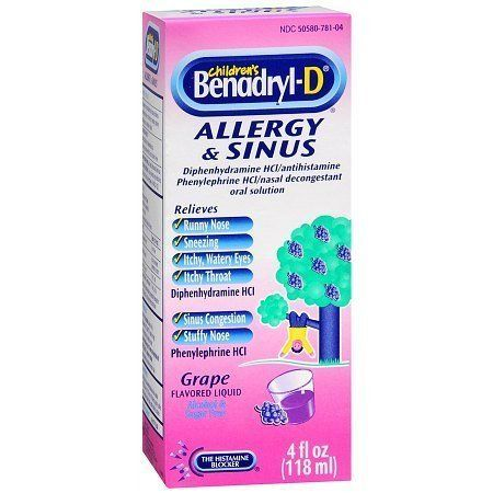 Children S Benadryl D Allergy Plus Congestion Liquid Grape Benadryl Kids Allergies Allergy Medication