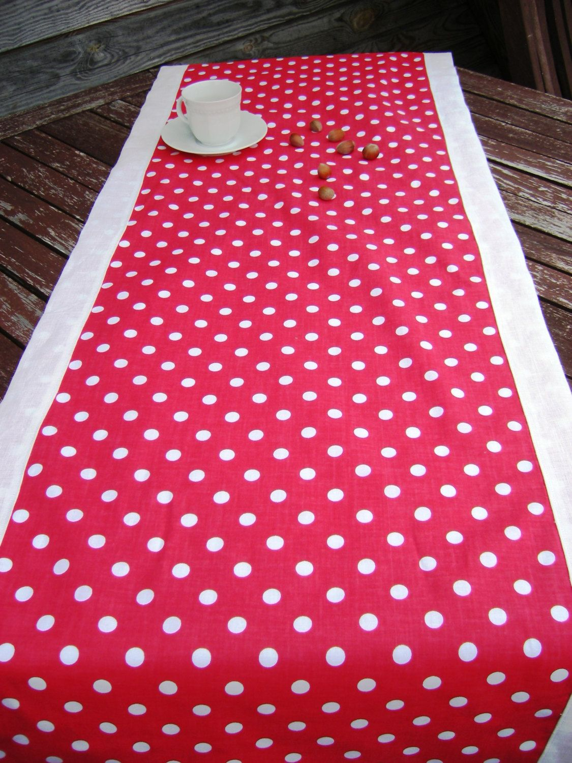 Polka Dot Table Runner, Red White Cotton LinenTablecloth, Handmade Linens,  Dotted Table Top