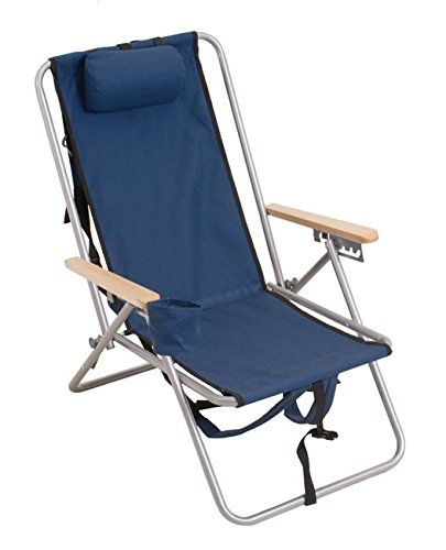 High Back Steel Backpack Beach Chair by WearEver Blue -- More info - sillas de playa