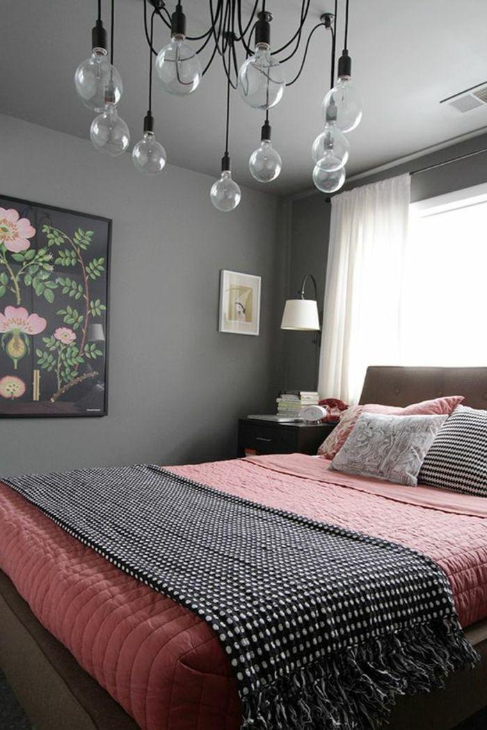 Peinture Mur Couleur Grise, Suspension Design, Parire De Lit Rose Saumon,  Deco Murale Galerie De Photos