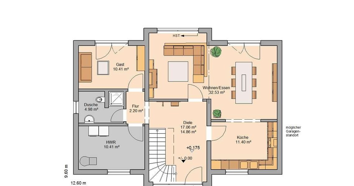 Grundriss einfamilienhaus erdgeschoss  Kern-Haus Familienhaus Aura Grundriss Erdgeschoss | Grundriss ...