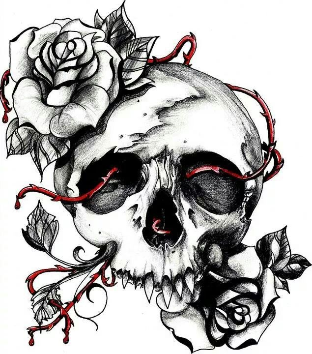 Drawings Easy Skull With Guns: Skull With Fangs And Roses