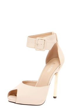 Marcy Ankle Strap Peep Toe Gold Trim Shoes