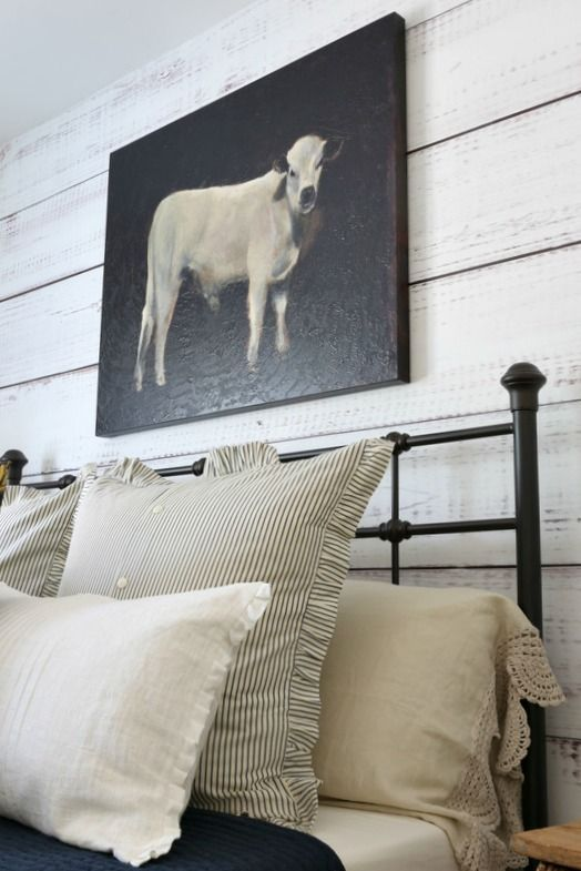 The farmhouse style guest room has a new look for the fall season with a few updates below is the way the room looked in the summer