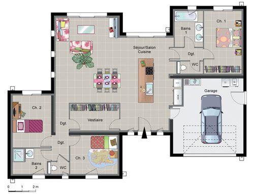 Maison contemporaine de plain-pied Construction, Bed room and House