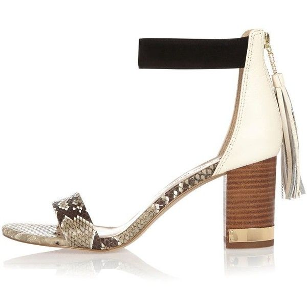 fd629cbfa52 River Island Beige print block heel tassel sandals ( 96) ❤ liked on  Polyvore featuring shoes
