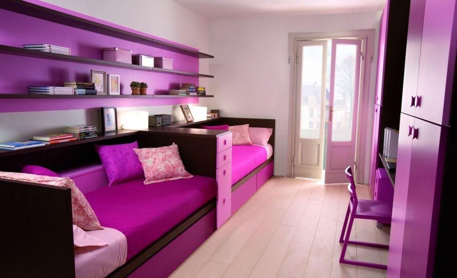 deep fuchsia bedding and & rich violet wall shelves with matching ...