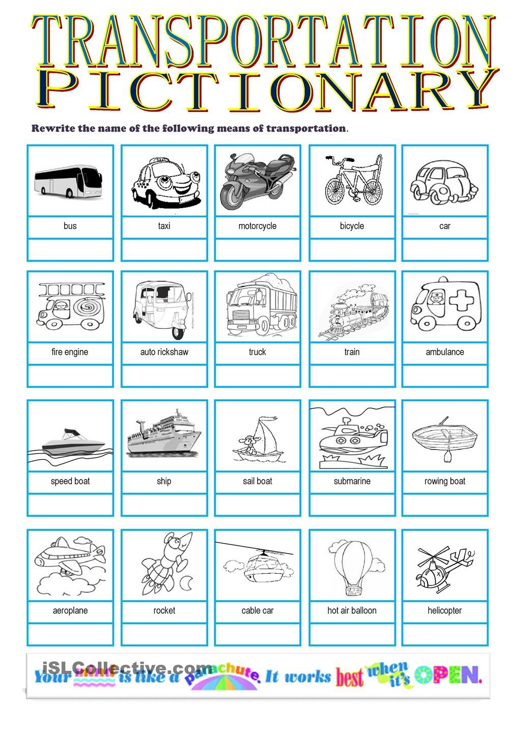 Workbooks using a dictionary worksheets : Transportation Pictionary   คำศัพท์   Pinterest   Picture ...
