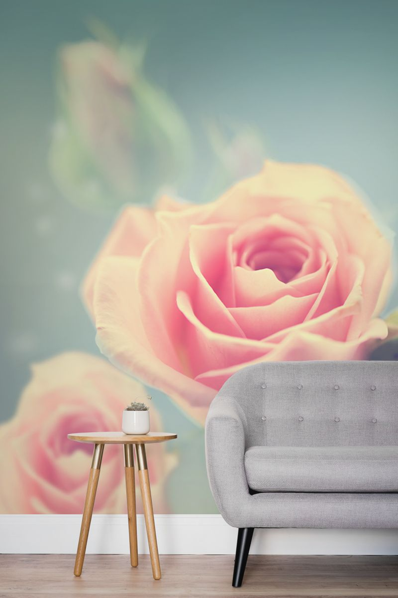 This Floral Wallpaper Design Is Captivating Yet Simple A Larger Than Life Rose Takes Centre Stage Other Flowers Fading In And Out Of Focus Giving An