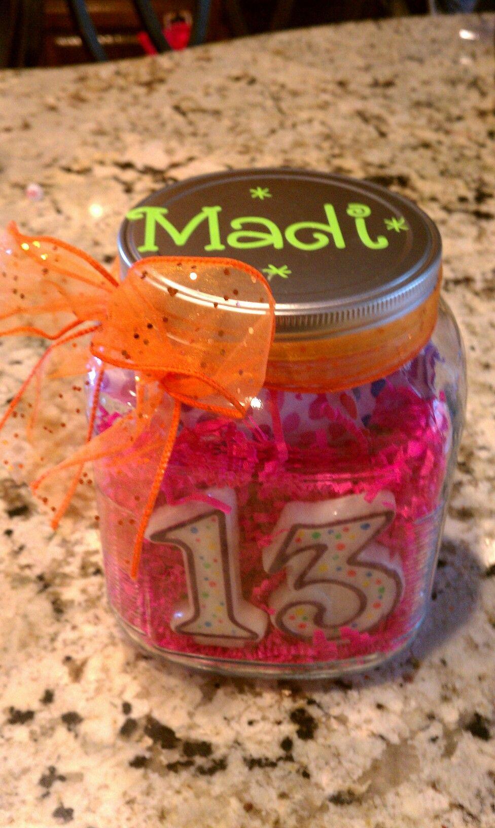 13th bday party present mason jar bday candlesgift