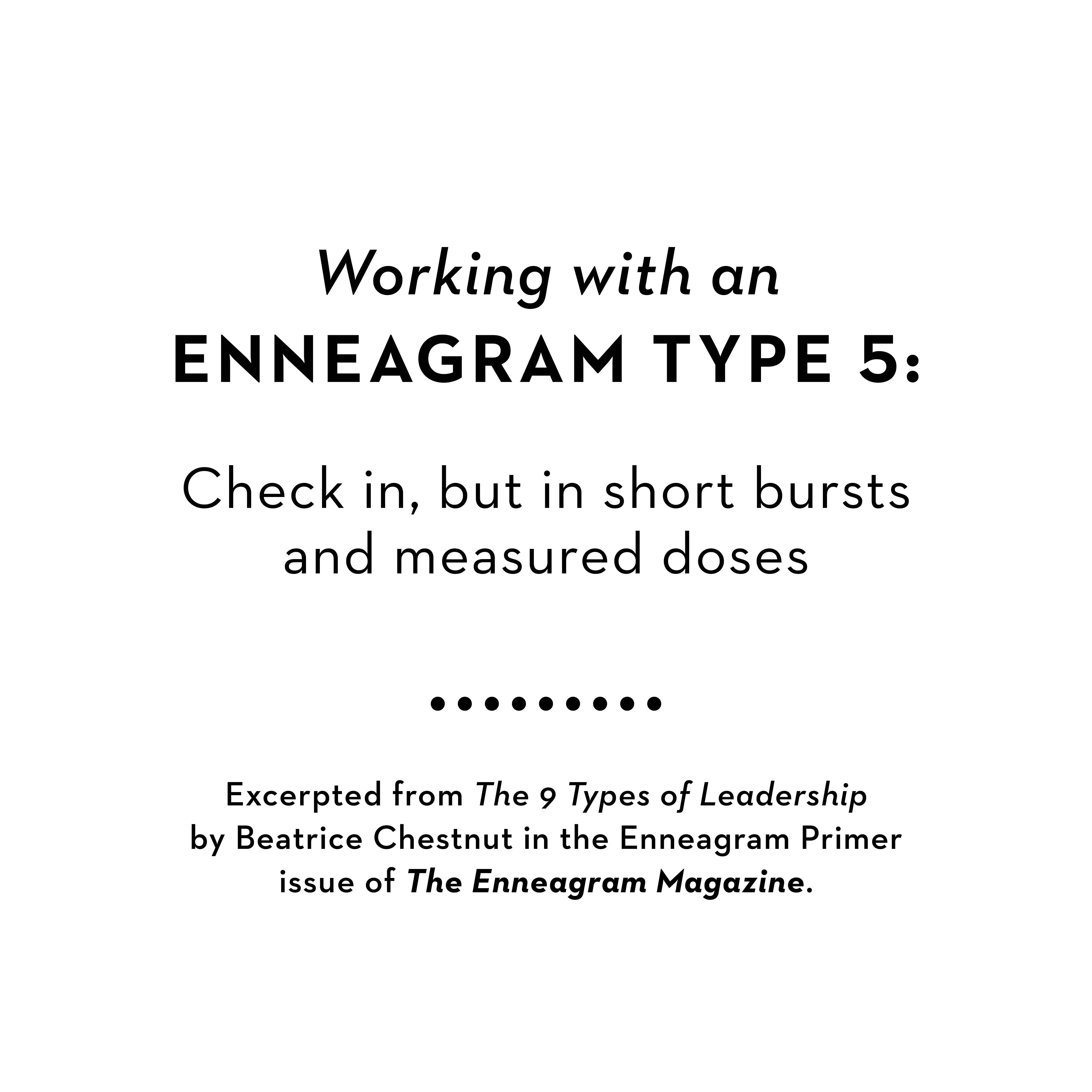 Working with an Enneagram 5