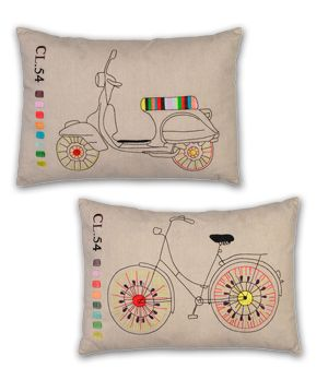 pillows with bicycle embroidery